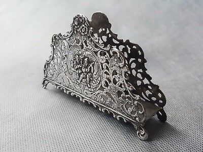 Beautiful Antique SOLID Silver Napkin Letter Holder Lovely Decarated