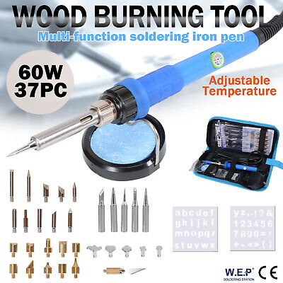 WEP 60W Wood Burning Pen Soldering Iron Kit Pyrography Craft Tool Tips 37pcs