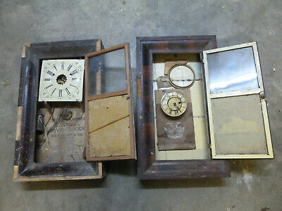 Pair of Antique  American Wall Clock cases   plus some workings