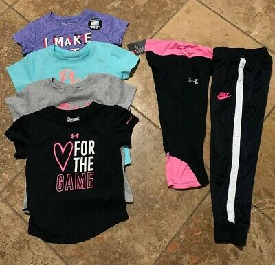 5be6173a99200 Girls Toddler Under Armour Nike T Shirt Pants Leggings Lot Size 4T 5T In Euc