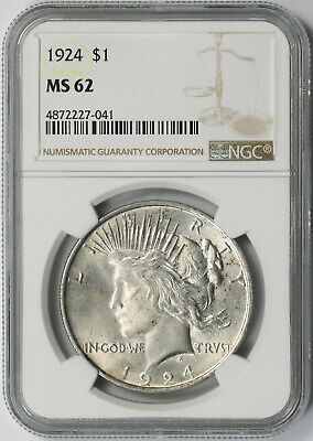 1924 Peace Dollar Silver $1 MS 62 NGC