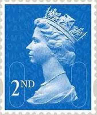 100 Unfranked Off Paper Second 2nd Class Blue Stamps 20t