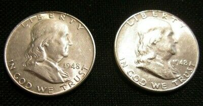 Bu 1948-P &d  Franklin Silver Half Dollars ,fbl First Year Of Issue Lot Of 2