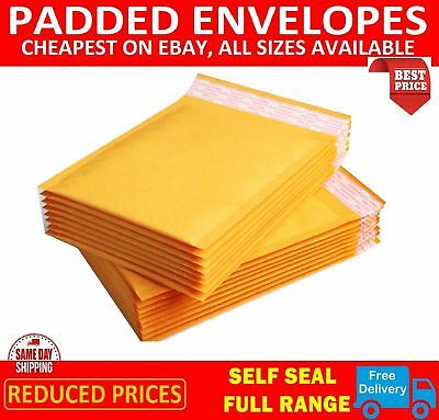 Padded Bubble Envelopes Bags Postal Wraped - All Sizes Gold  - Trade Prices