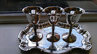 Three Silver Plated Yeoman Vintage Egg Cups/small Goblets With Yeoman Plate Tray