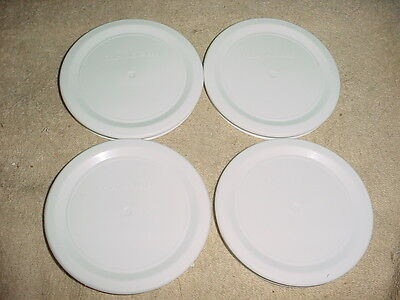 CORNING WARE WHITE 16OZ ROUND F-16-PC REPLACEMENT PLASTIC LIDS x 4 FREE USA SHIP
