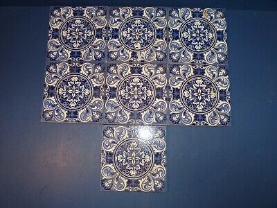 Antique Tiles Josiah Wedgwood & Son X7 Pose & Ring Blue Flower Victorian