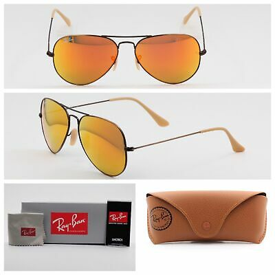95e20da5ed Ray-Ban Aviator Sunglasses RB3025 167 2K Orange Mirror Lens 58mm Bronze  Frame