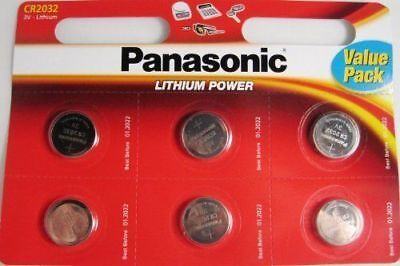 6 Panasonic CR2032 Lithium 3V Coin Cell Multipurpose Batteries Key Fobs Scales