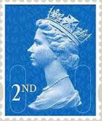 100 Unfranked Off Paper Second 2nd Class Blue Stamps 1t