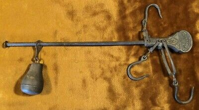Antique 3 Hook Slide Balance Beam Cotton Meat Farm Hanging Scale Cast Iron