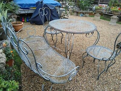VINTAGE ORNATE FRENCH garden table and chairs set / salon de ...