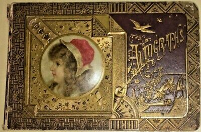 """Antique Victorian Late 1800's 19th C Autographs Book pictorial cover 9""""x 6"""""""