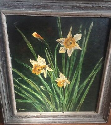 Antique Original Oil Painting Daffodils Signed Lubrano Folk Art Wood Frame