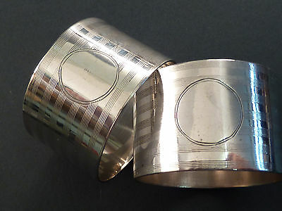 Super Pair Of Chester Silver Napkin Rings, Line Decoration