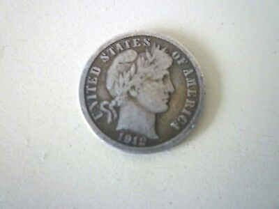 1912 D Barber Silver Dime-United States of America -Good Original Condition