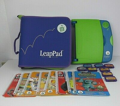Leap Pad Learning System + 8 Books + 8 Cartridges + Carry Case Reading Math Fun