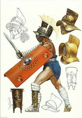 Postcard Roman Gladiators Murmillo Mirmillo Myrmillo Rome Italy Weapons Uniform