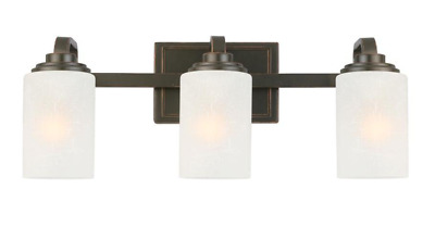 Oil-Rubbed Bronze Vanity Light Frosted Patterned Glass Shade 3-Light Rustic