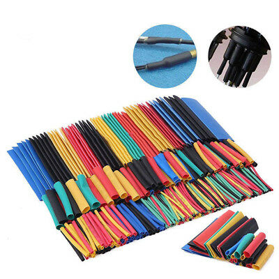 164Pcs Polyolefin Assorted 2:1 Heat Shrink Tubing Sleeving Wrap Wire Cable 8Size