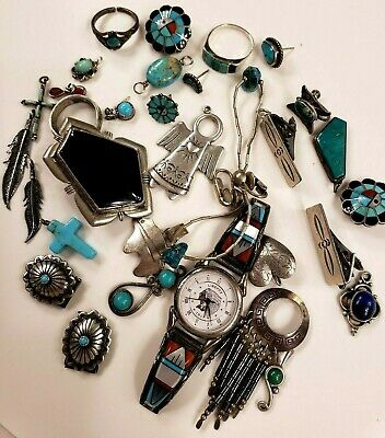 Lot Of Vintage Sterling Silver Native American Craft Parts 109 g