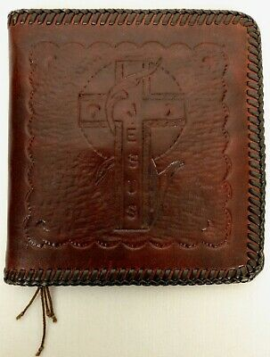 Vintage Hand Tooled Brown Leather Prayer Book Cover with Praying Hands & Cross