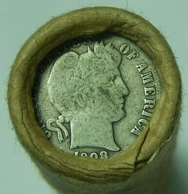 Silver Dime Roll Roosevelt Mercury Barber $5 Lot 90% 1906 & 1908 Dimes Ends 62