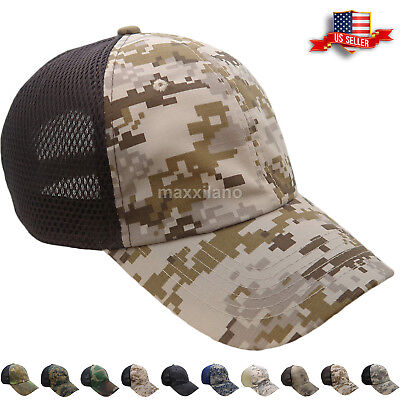Baseball Cap Cotton Hat Mesh Tactical Military Army Polo Style Visor Camo Mens