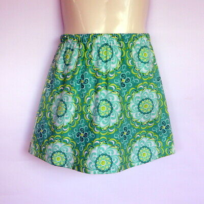 Girls Green Floral Skirt - sizes 0 to 6 avail - retro, 70's geometric flower