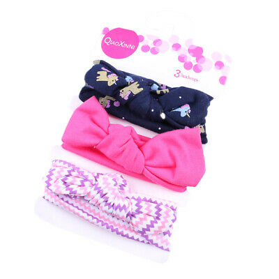 3Pcs Baby Headbands Elastic Knotted Cotton Girl's Hairbands Hair Accessory W3N9