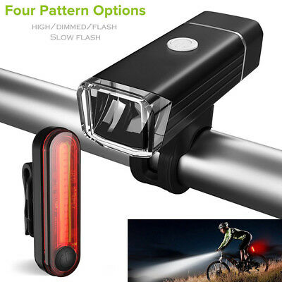 Bike Bicycle Lights USB LED Rechargeable Mountain Cycle Front Back Headlight EN