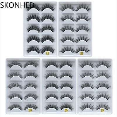 5Pairs 100% Real Mink 3D Volume Thick Daily False Eyelashes Strip Lashes Hot
