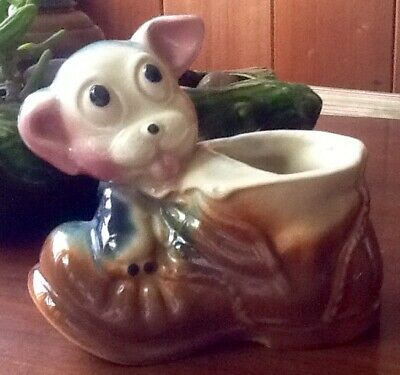Vintage American Bisque Bulldog Puppy Dog Figurine Decorative Planter Pottery