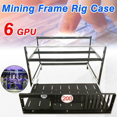 Crypto Coin Open Air Mining Miner Frame Rig Case For 6 GPU ETH BTC Ethereum