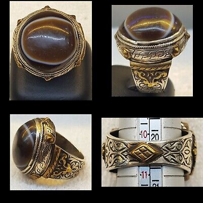 Antique Silver Ring With Beautiful Old Sulimani Eye Banded Ancient Agate Stone