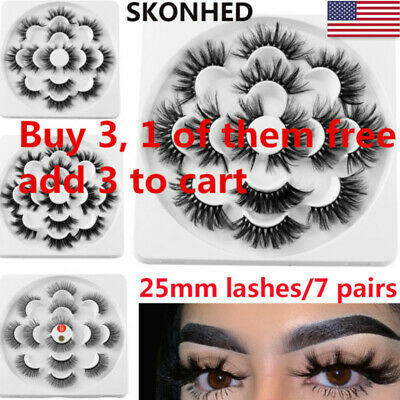 SKONHED 7 Pairs 6D Mink Hair False Eyelashes 25mm Lashes Thick Wispy Fluffy US