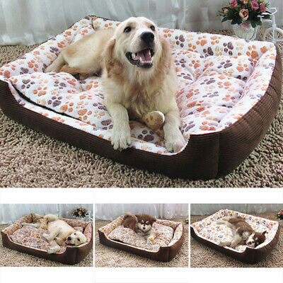 Dog Bed Pet Puppy Cat Corduroy Fleece Cushion Mat Basket Washable S M L Xl Xxl