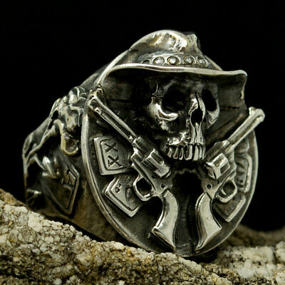 ab95dd5aac Biker Ring Silver Skull Mens Jewelry Handmade Badass Cowboy Guns Poker Cards