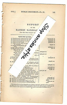 1872 Massachusetts train report EASTERN RAILROAD Boston MA to NH line paper
