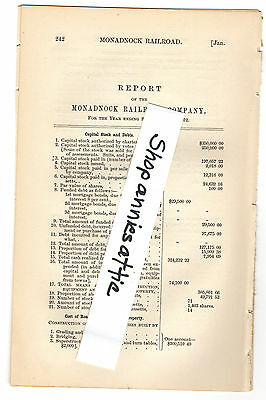 1872 Massachusetts train report MONADNOCK RAILROAD Winchendon MA Peterborough NH