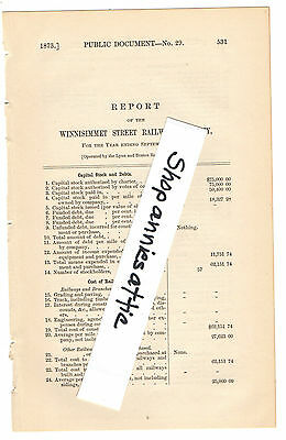 1872 Massachusetts train report WINNISINNET RAILWAY Chelsea MA streetcar trolley