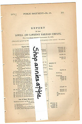 1872 Massachusetts train report LOWELL & LAWRENCE RAILROAD COMPANY rare MA paper