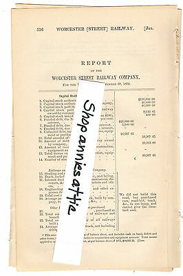 1872 Massachusetts train report WORCESTER RAILWAY COMPANY horse street trolley