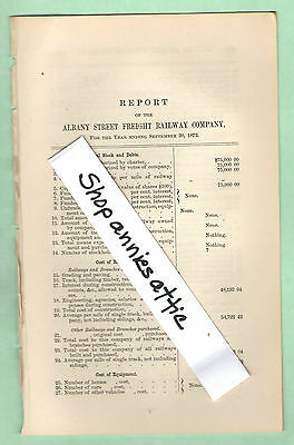 1872 Massachusetts old RR report ALBANY STREET FREIGHT RAILWAY Boston MA train