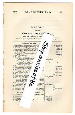 1872 Massachusetts train report WARE RIVER RAILROAD Palmer Winchendon MA RR RARE