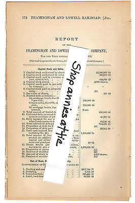 1872 Massachusetts train report FRAMINGHAM & LOWELL RAILROAD COMPANY vintage RR