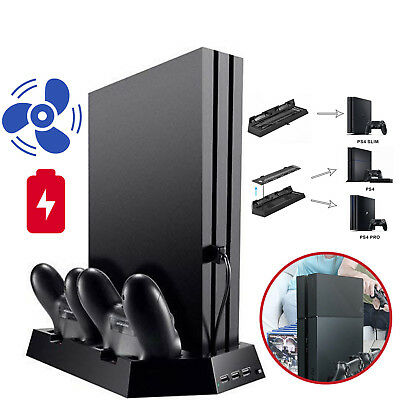 AU Vertical Cooling Fan Stand with Dual Controller Charger For PS4/ Slim/PS4 Pro