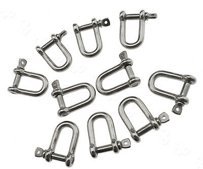 10Pcs 5mm D Shackle Buckle Screw Pin For Marine Boat Shade Sail Trailer Tool Set