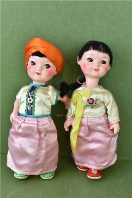 "VTG Wooden Painted Dolls x2 Oriental Style Dress 9"" Tall Girl & Boy Collectable"