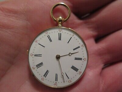 1800s Solid 18K Gold Paris Vacheron Size2 Pendant Watch Very Rare Near Mint